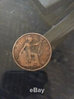 1917 UK Great Britain British One 1 Penny King George V WWI Era Coin VF