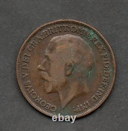 1919-H Great Britain King George V one penny coin Key Date