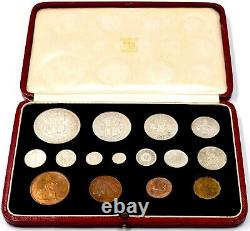 1937 Specimen Coin Set Leather Case King George VI CROWN HALF PENNY MAUNDY (D)
