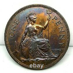 1940 Great Britain 1 Penny Bronze Ch Bu Proof Coin Km# 845 With Stunning Toning