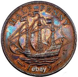 1959 Great Britain 1/2 Penny Bronze Ch Bu Proof Km#896 With Stunning Toning