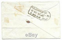 1d Penny Black Plate 4 lettered M/A 4 margin on cover with glasgow back stamp