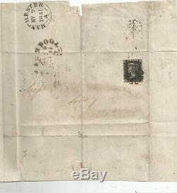 4 Margin Penny Black (gd) Sent To Manchester On May 9th 1841