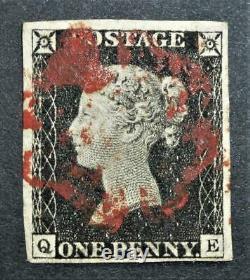 4 margins penny black plate 2 red maltese cross letters QE nice example