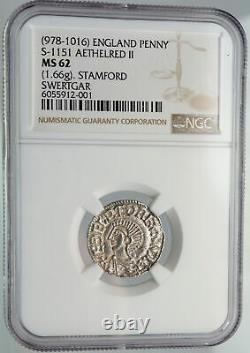 978AD ENGLAND Great Britain UK King AETHELRED II Silver Penny Coin NGC i90650