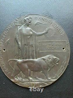 British WW1 Memorial Plaque Death Plaque Death Penny BUTCHER Hampshire R