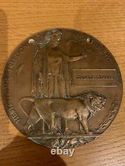 British WW1 Memorial Plaque Death Plaque Death Penny CLARKE