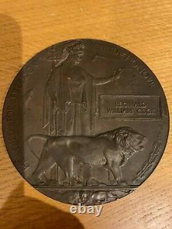 British WW1 Memorial Plaque Death Plaque Death Penny COOK