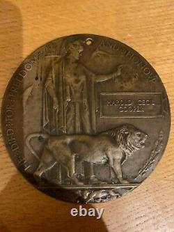 British WW1 Memorial Plaque Death Plaque Death Penny COOPER London Regt