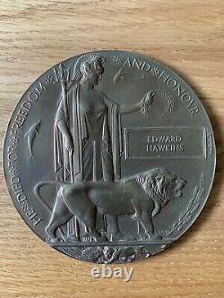 British WW1 Memorial Plaque Death Plaque Death Penny HAWKINS