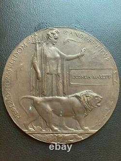 British WW1 Memorial Plaque Death Plaque Death Penny JOSHUA MARETT