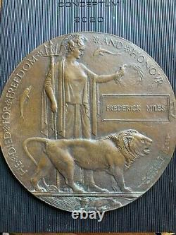 British WW1 Memorial Plaque Death Plaque Death Penny MILES