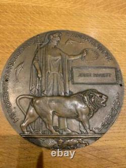 British WW1 Memorial Plaque Death Plaque Death Penny PAGETT