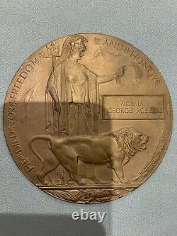 British WW1 Memorial Plaque Death Plaque Death Penny ROBERTS Scottish Rif
