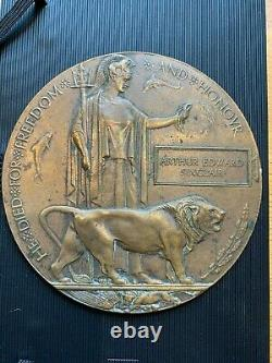 British WW1 Memorial Plaque Death Plaque Death Penny SINCLAIR R Welsh Fus