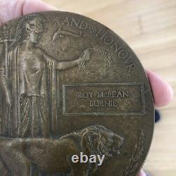Bronze Death Penny Medal Lance Corporal Roy M. Burnie 9th Highland Infantry WWI