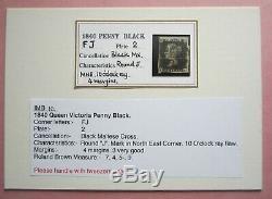 G. B. Victoria penny Black 1840. Plate 2, Black Maltese cross