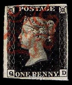 GB #1 One Penny Black Qv Issue Of 1840 Used Vf CV $350.00 (esp#5638)