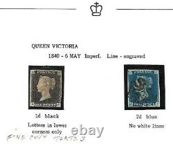 GB -1840 Lovely 4 Margined Penny Black(SC) (Pl. 3) & Two penny Blue (CD)-PHOTOS