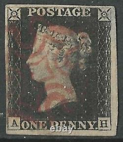 GB 1840 Penny Black Plate 1b, AH, 4 Margins, Red Maltese Cross