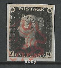 GB 1840 Penny Black Plate 5, JH, 4 Margins, Used on Piece Red Maltese Cross