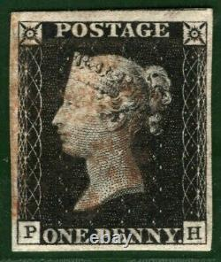 GB PENNY BLACK SG. 2 1840 1d Plate 1b (PH) Fine Used Red MX Cat £375 BLRED17