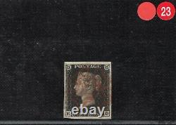 GB PENNY BLACK Stamp SG. 2 1d Plate 7 (HD) Used Light Red MX Cat £400- RRED23