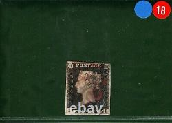 GB PENNY BLACK Stamp SG. 2/3 1840 1d Plate 4 (IL) Used Red MX Cat £400+ BLRED18