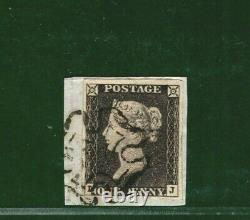 GB PENNY GREY-BLACK QV Stamp SG. 3 1d Plate 1b (LJ) Crisp MX Piece c£500 YBLUE4