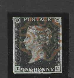 GB Penny Black SG 2 PLATE 10 LC SUPERB 4 margins Red Maltese Cross. RARE so Fine