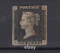 GB QV 1840 1d Penny Black Plate 8 4 Margin VFU (Superb) JK2381