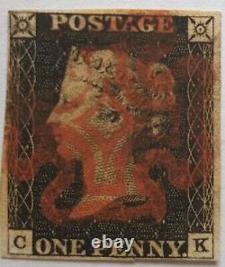 GB QV 1840 SG 2 1d Penny Black Plate 1b CK four margins red MX
