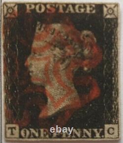 GB QV 1840 SG 2 1d Penny Black Plate 8 TC four margins red MX