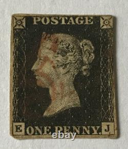 GB QV, 1d Penny Black, KJ, Fine Used with Red MX