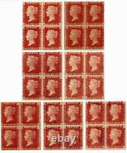 GB QV MINT BLOCKS PENNY RED PLATE NUMBERS SOME UNMOUNTED. Each One Priced