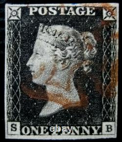 GB QV SG2 1d Penny Black Plate 1b SB Very Fine Used with Fine Red MX