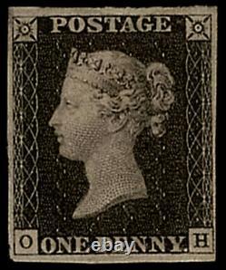 GB QV SG2 1d Penny Black Plate 3 OH Fine Mint Full Gum Rare Very Rare cv £20000+