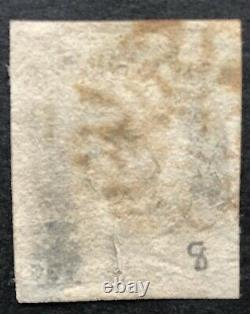 GB Qv 1840 Penny Black Ag Plate 8 Four Margin With A Red Maltese Cross