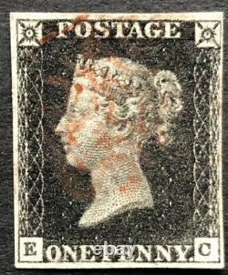 GB Qv 1840 Penny Black Ec Plate 7 Four Margin With A Red Maltese Cross
