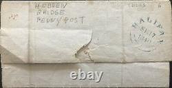 GB Qv 1840 Penny Black Four Margin Cover Lf Plate 6, Pmk! Hebden Bridge Penny