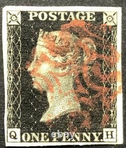 GB Qv 1840 Penny Black Qh Plate 7 Large Four Margin Red Maltese Cross