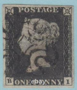 Great Britain 1 Penny Black 4 Margins 1840 No Faults Extra Fine