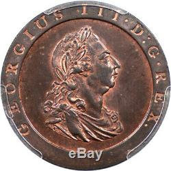 Great Britain 1797 George III Cartwheel Penny PCGS MS-64 Red Brown Gold Shield