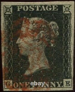 Great Britain 1840 1d Penny Black'GE' 4 Good Margins. Plate 1b. Red Maltese X