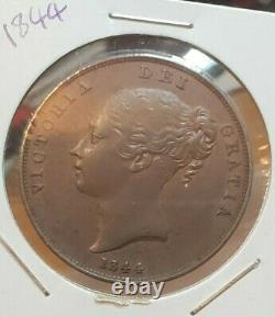 Great Britain 1844 One Penny Coin Victoria Ex High Grade Rare Wow