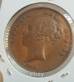 Great Britain 1854 One Penny Coin Pt Victoria High Grade Rare Nice