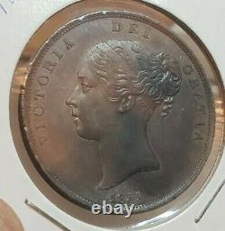 Great Britain 1855 One Penny Coin Victoria Ex High Grade Wow