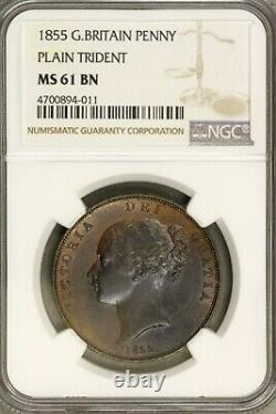 Great Britain 1855 Penny Plain Trident NGC MS 61 BN