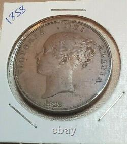 Great Britain 1858 One Penny Coin Victoria Ex High Grade Wow