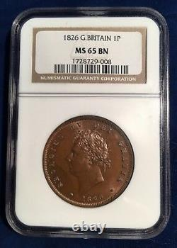 Great Britain George IV 1826 1 Penny Coin, Uncirculated, Certified Ngc Ms65-bn